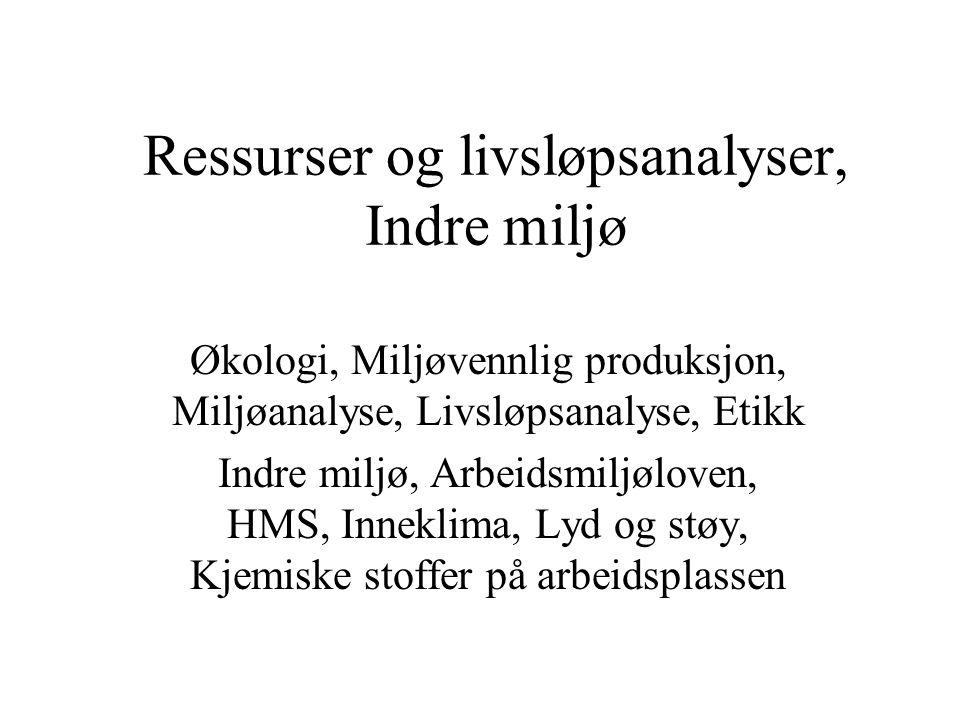 Ressurser og livsløpsanalyser, Indre miljø