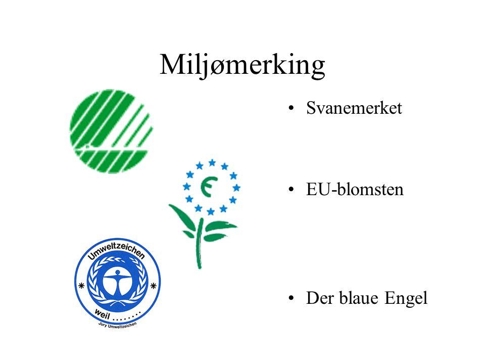 Miljømerking Svanemerket EU-blomsten Der blaue Engel