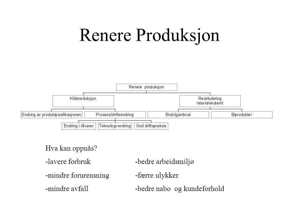 Renere Produksjon Hva kan oppnås -lavere forbruk -bedre arbeidsmiljø