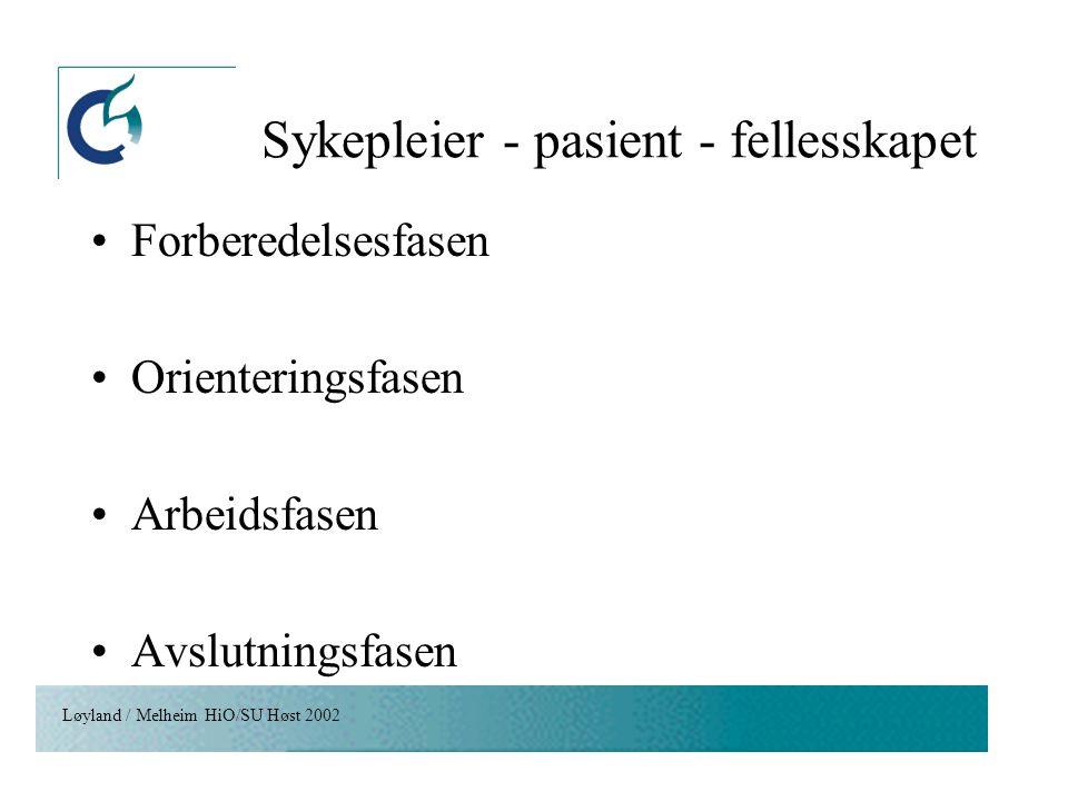 Sykepleier - pasient - fellesskapet