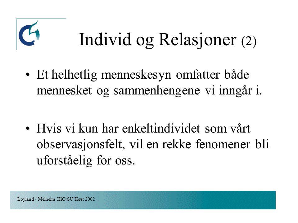 Individ og Relasjoner (2)