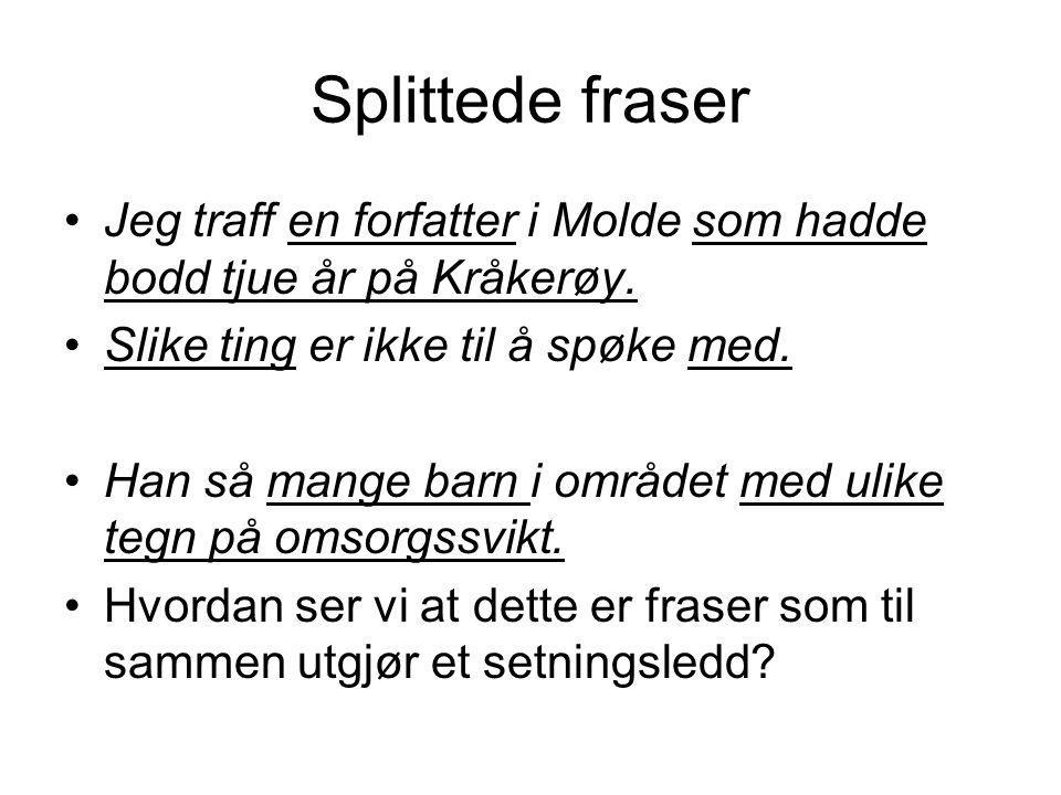 Splittede fraser Jeg traff en forfatter i Molde som hadde bodd tjue år på Kråkerøy. Slike ting er ikke til å spøke med.
