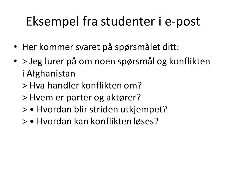 Eksempel fra studenter i e-post