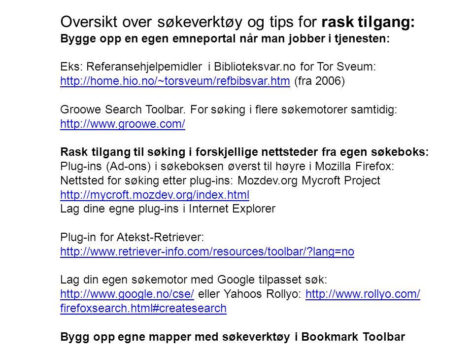 Oversikt over søkeverktøy og tips for rask tilgang: