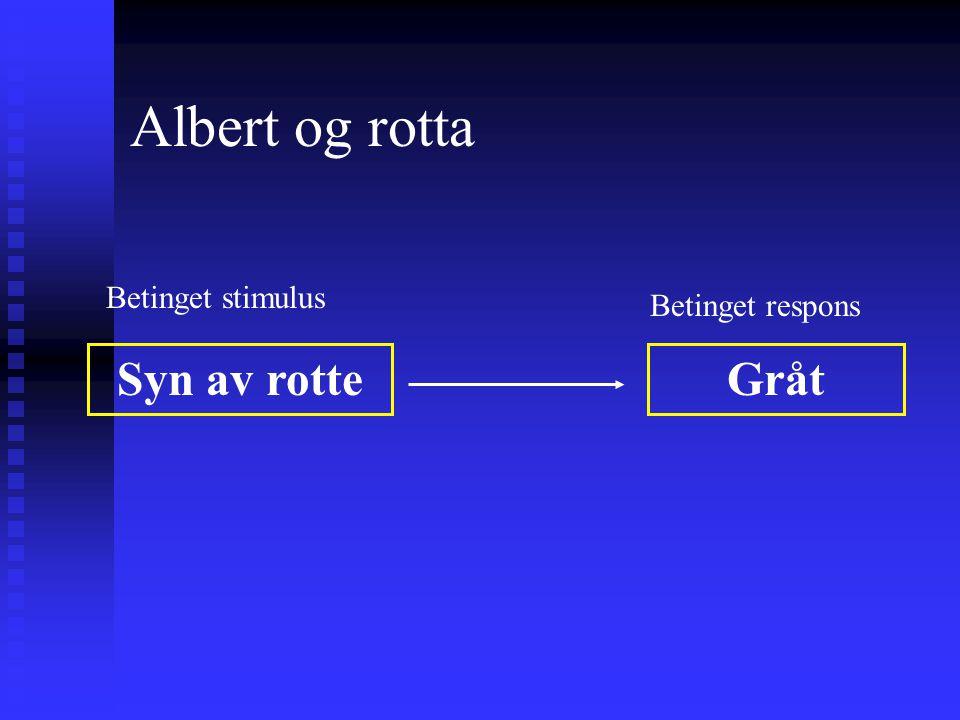 Albert og rotta Betinget stimulus Betinget respons Syn av rotte Gråt
