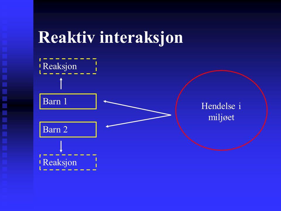 Reaktiv interaksjon Reaksjon Barn 1 Hendelse i miljøet Barn 2 Reaksjon