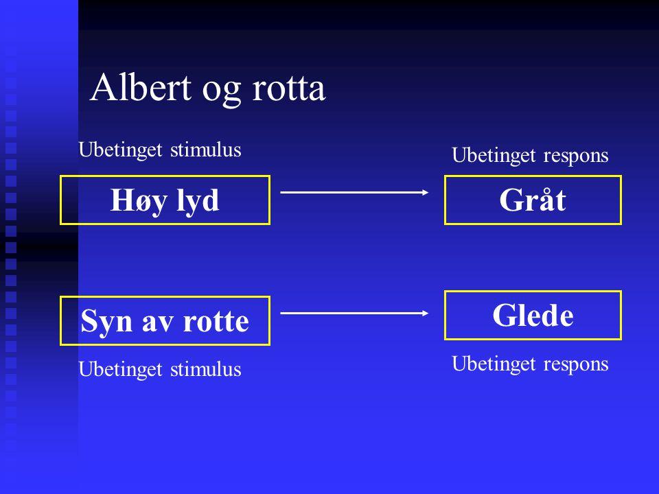 Albert og rotta Høy lyd Gråt Glede Syn av rotte Ubetinget stimulus
