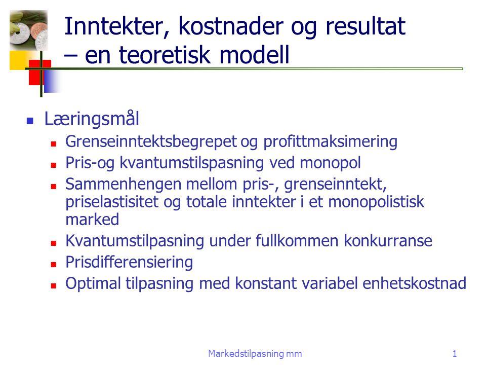 Inntekter, kostnader og resultat – en teoretisk modell