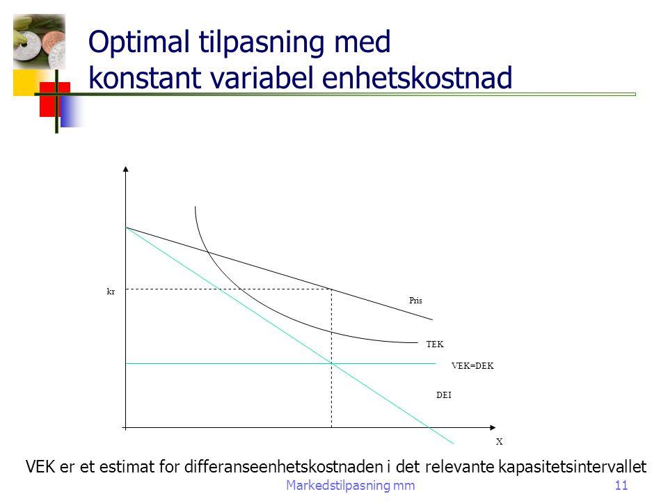 Optimal tilpasning med konstant variabel enhetskostnad