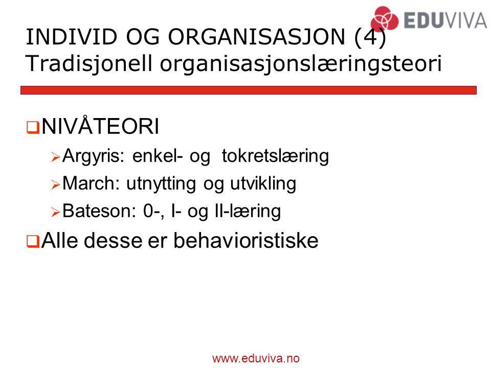 INDIVID OG ORGANISASJON (4) Tradisjonell organisasjonslæringsteori