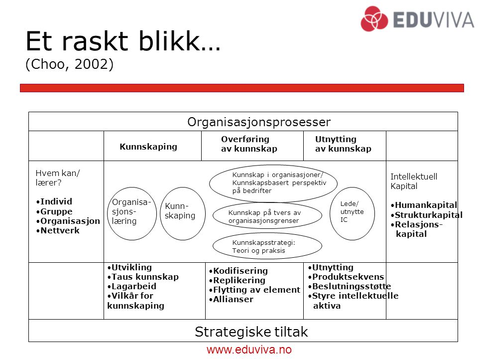 Et raskt blikk… (Choo, 2002) Strategiske tiltak Organisasjonsprosesser