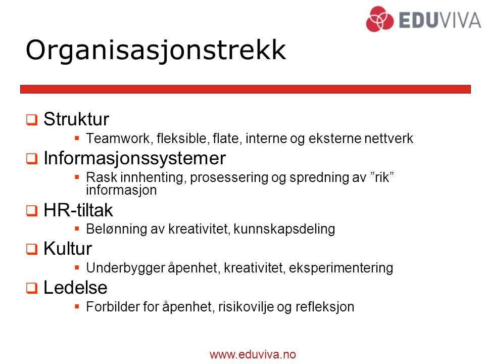 Organisasjonstrekk Struktur Informasjonssystemer HR-tiltak Kultur