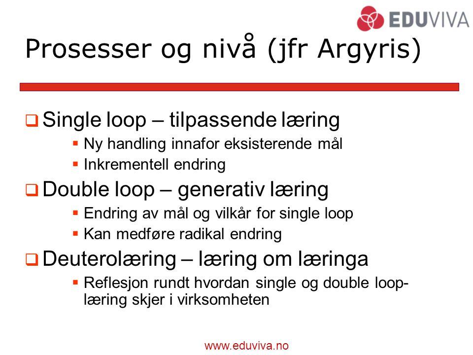 Prosesser og nivå (jfr Argyris)