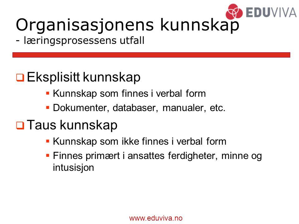 Organisasjonens kunnskap - læringsprosessens utfall