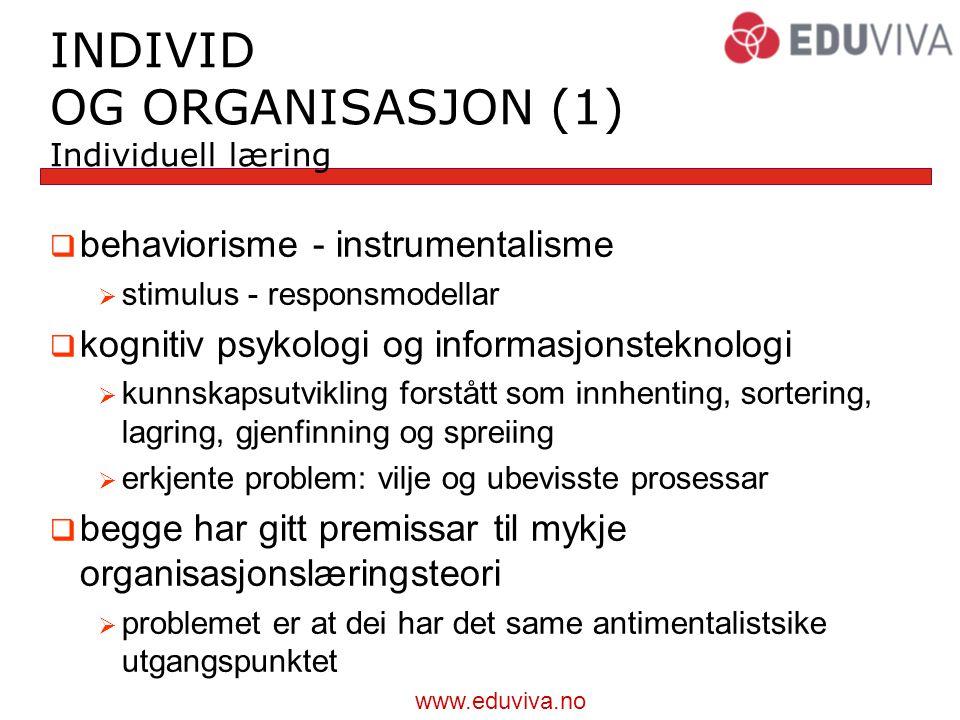 INDIVID OG ORGANISASJON (1) Individuell læring