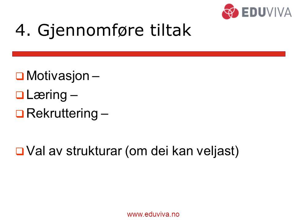 4. Gjennomføre tiltak Motivasjon – Læring – Rekruttering –