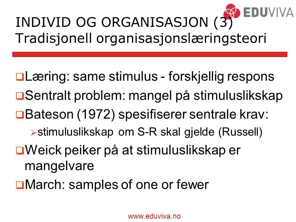INDIVID OG ORGANISASJON (3) Tradisjonell organisasjonslæringsteori