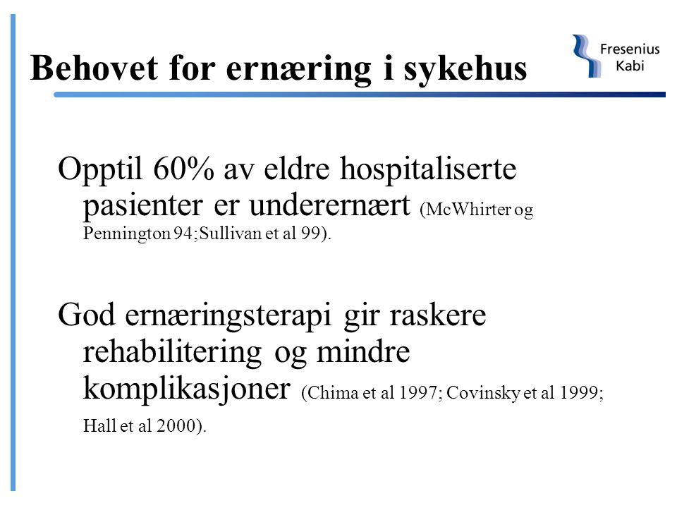 Behovet for ernæring i sykehus
