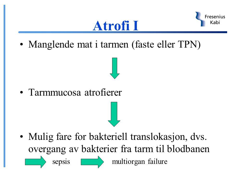 Atrofi I Manglende mat i tarmen (faste eller TPN)
