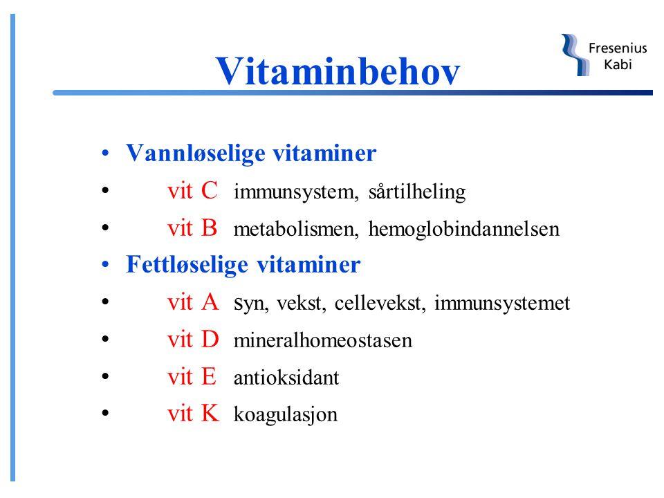 Vitaminbehov Vannløselige vitaminer vit C immunsystem, sårtilheling