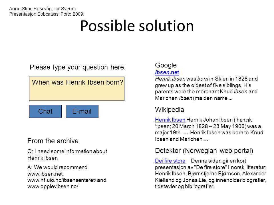Possible solution Google Wikipedia Detektor (Norwegian web portal)