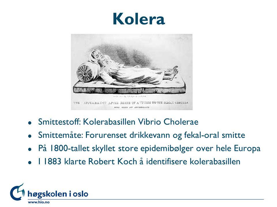 Kolera Smittestoff: Kolerabasillen Vibrio Cholerae