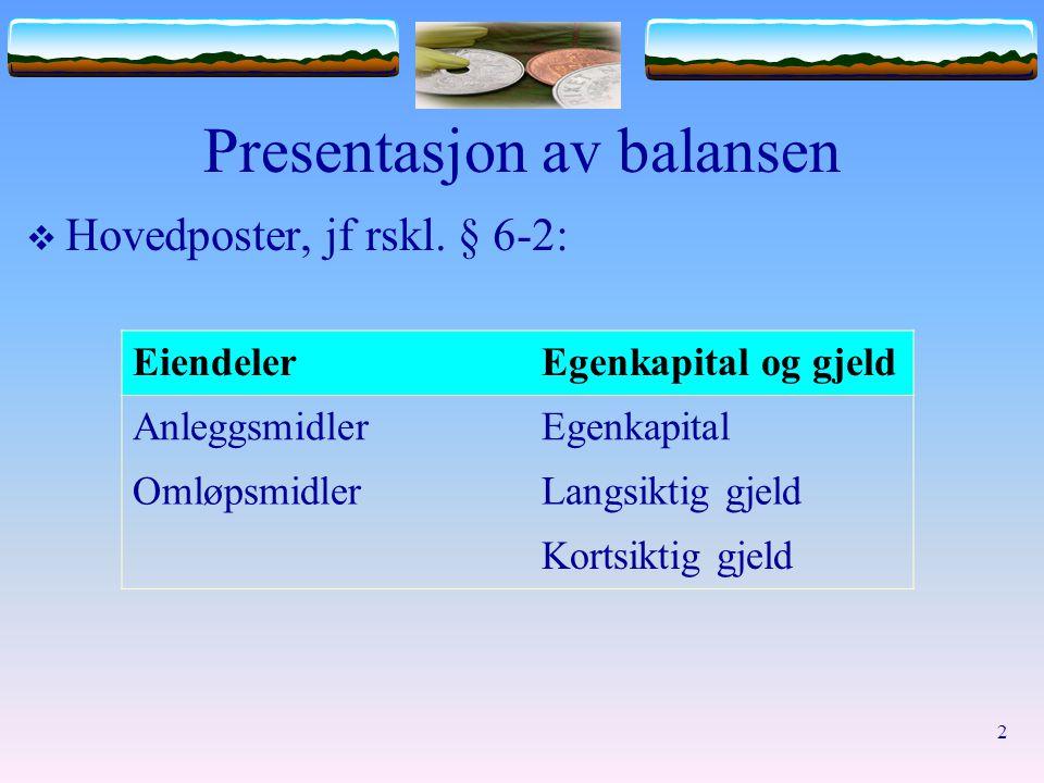 Presentasjon av balansen