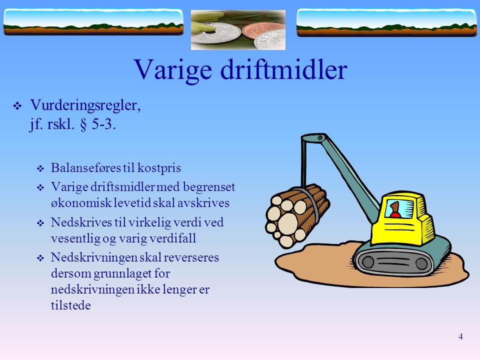 Varige driftmidler Vurderingsregler, jf. rskl. § 5-3.