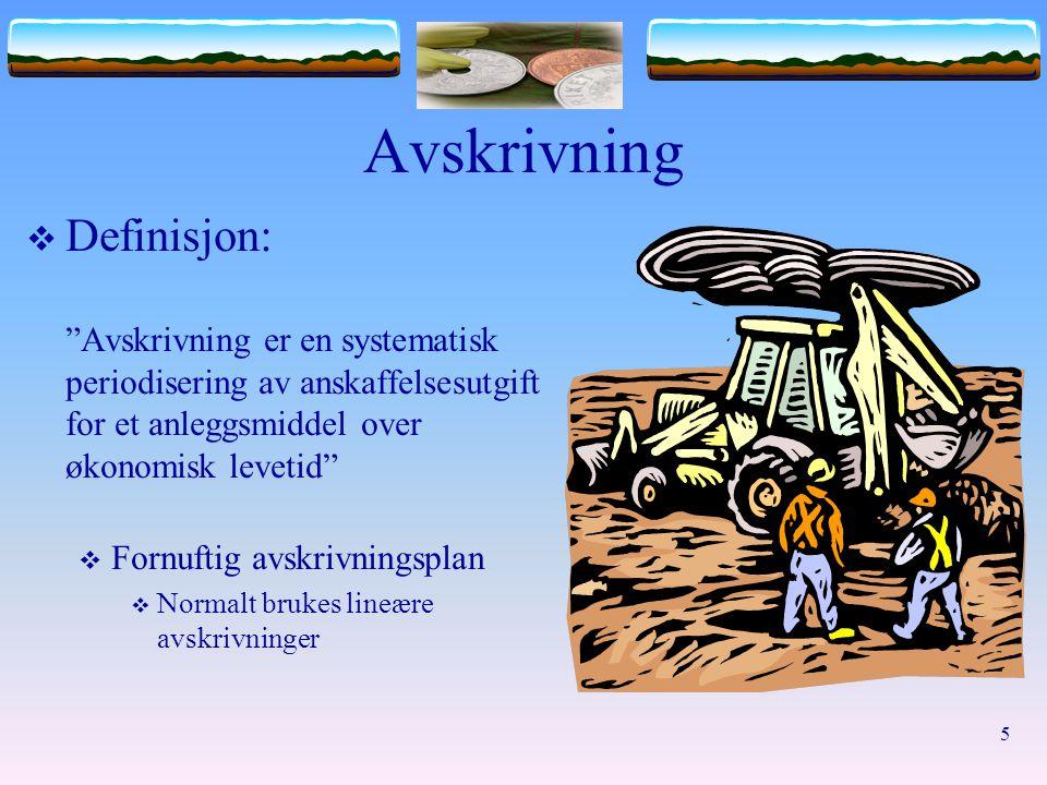 Avskrivning Definisjon: Avskrivning er en systematisk periodisering av anskaffelsesutgift for et anleggsmiddel over økonomisk levetid