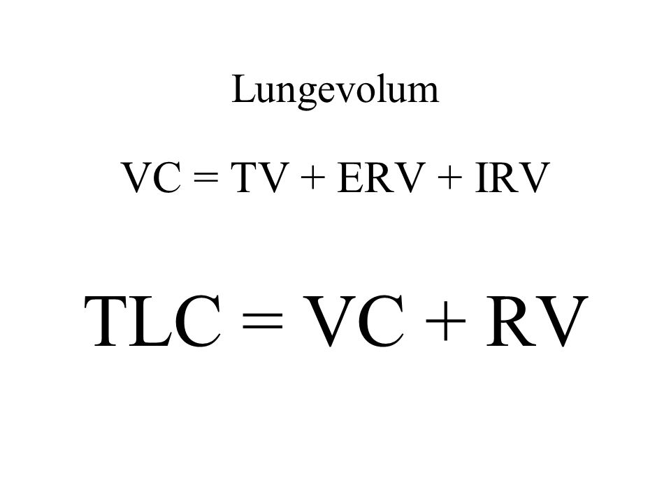 Lungevolum VC = TV + ERV + IRV TLC = VC + RV