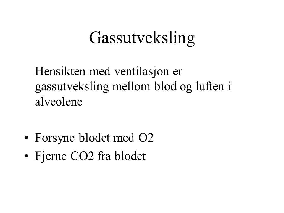 Gassutveksling Hensikten med ventilasjon er gassutveksling mellom blod og luften i alveolene. Forsyne blodet med O2.
