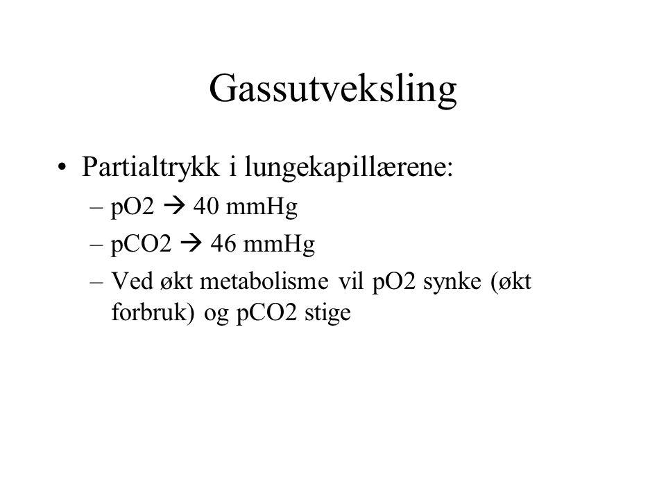 Gassutveksling Partialtrykk i lungekapillærene: pO2  40 mmHg