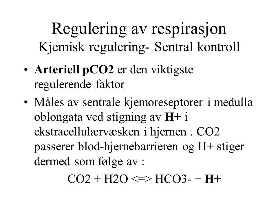 Regulering av respirasjon Kjemisk regulering- Sentral kontroll