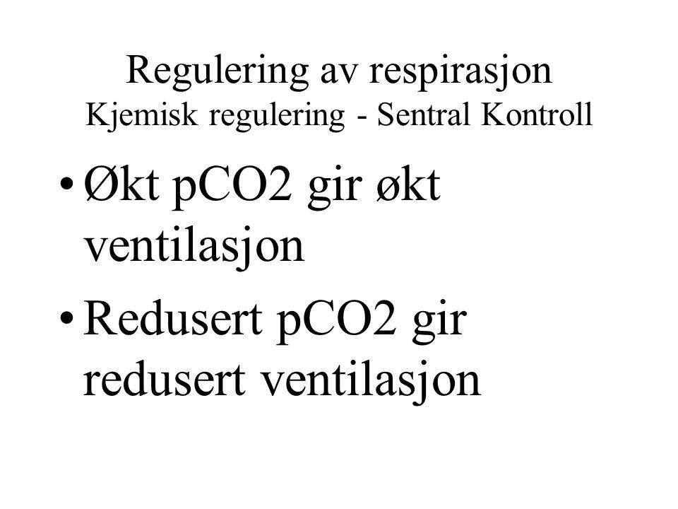 Regulering av respirasjon Kjemisk regulering - Sentral Kontroll