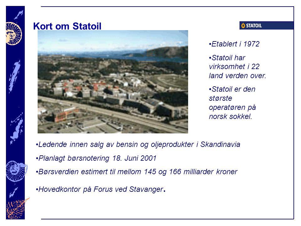 Kort om Statoil Etablert i 1972