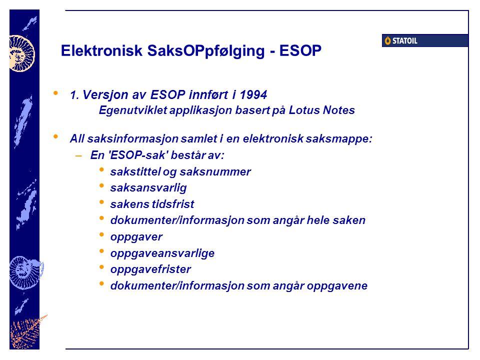 Elektronisk SaksOPpfølging - ESOP
