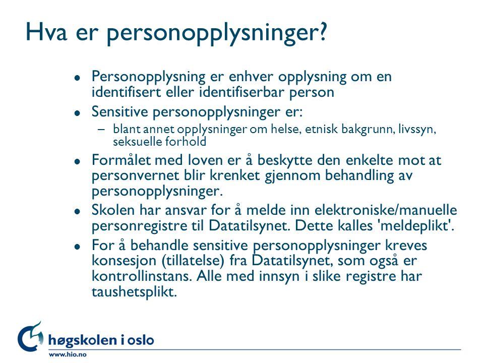 Hva er personopplysninger