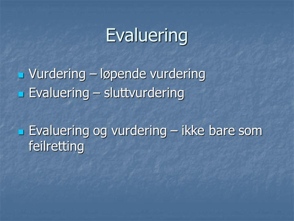 Evaluering Vurdering – løpende vurdering Evaluering – sluttvurdering