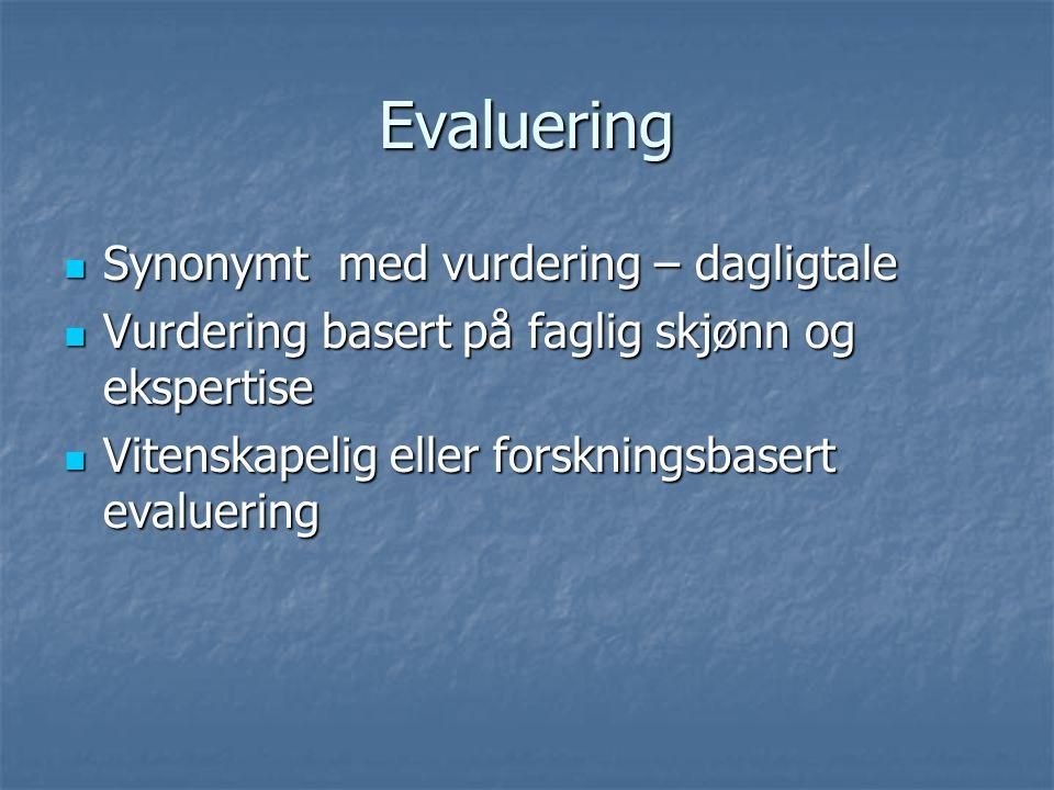 Evaluering Synonymt med vurdering – dagligtale