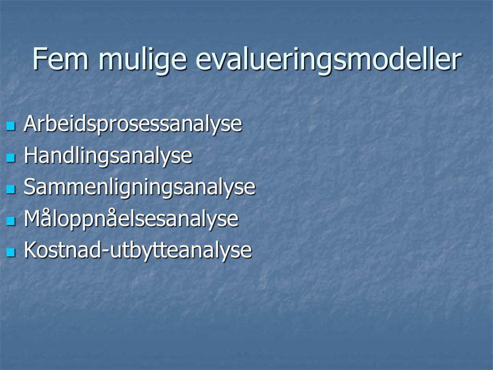 Fem mulige evalueringsmodeller