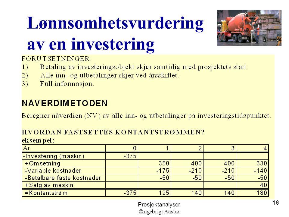 Lønnsomhetsvurdering av en investering