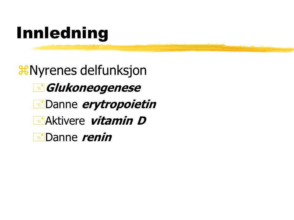 Innledning Nyrenes delfunksjon Glukoneogenese Danne erytropoietin