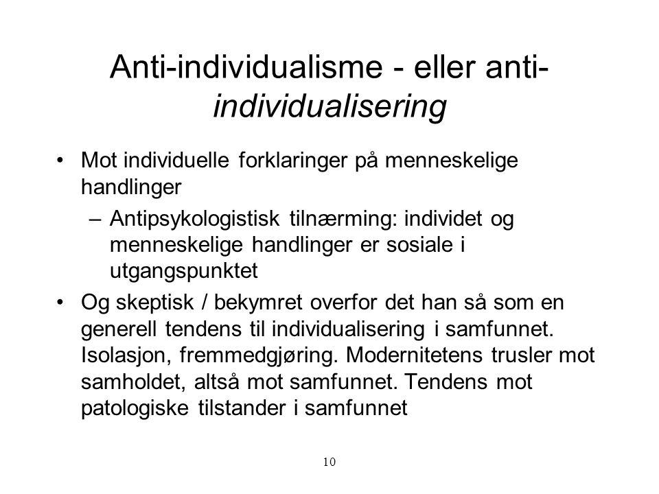 Anti-individualisme - eller anti-individualisering
