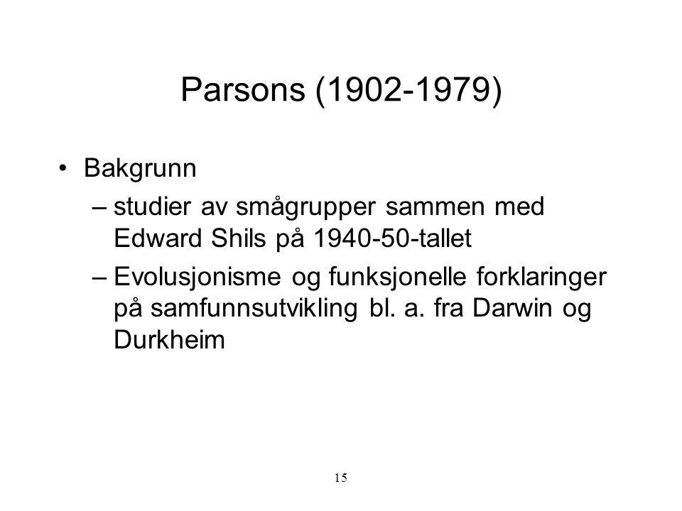 Parsons (1902-1979) Bakgrunn. studier av smågrupper sammen med Edward Shils på 1940-50-tallet.
