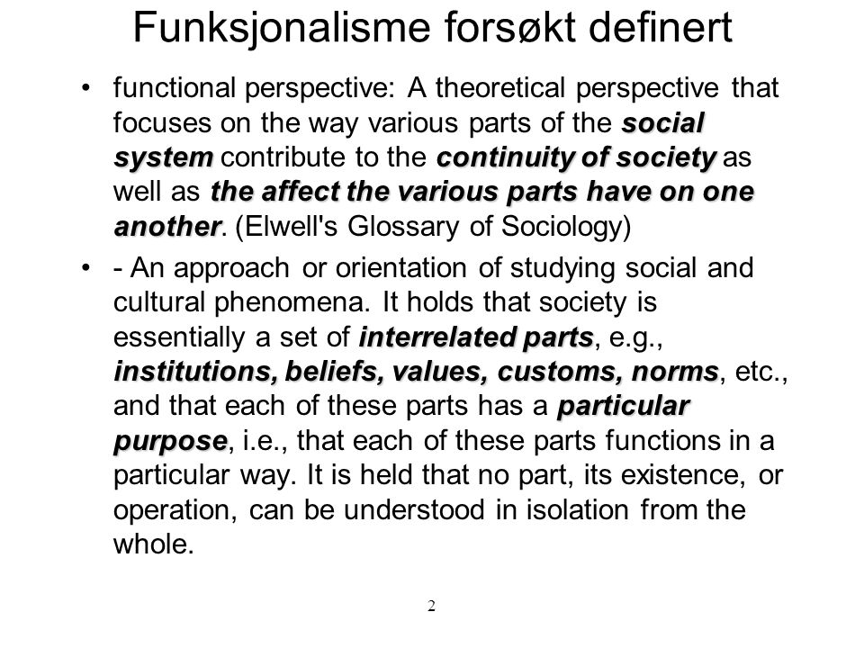 Funksjonalisme forsøkt definert