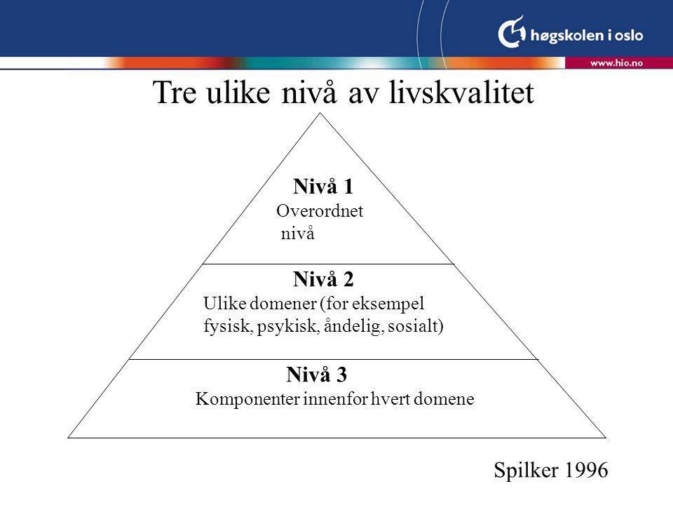 Tre ulike nivå av livskvalitet