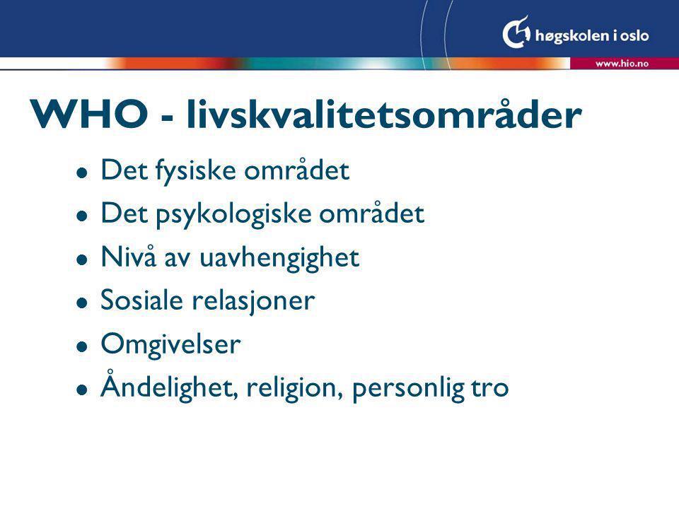 WHO - livskvalitetsområder