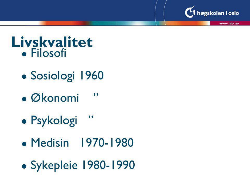 Livskvalitet Filosofi Sosiologi 1960 Økonomi Psykologi