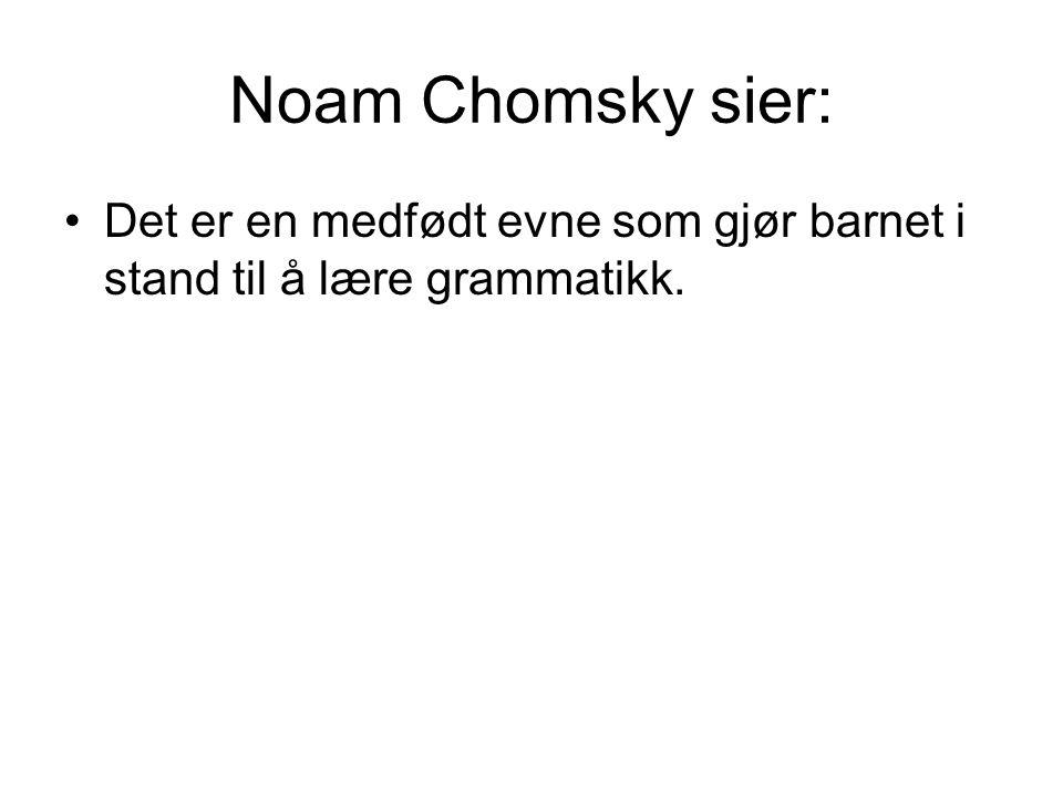 Noam Chomsky sier: Det er en medfødt evne som gjør barnet i stand til å lære grammatikk.