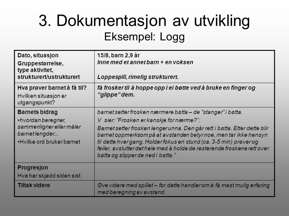 3. Dokumentasjon av utvikling Eksempel: Logg